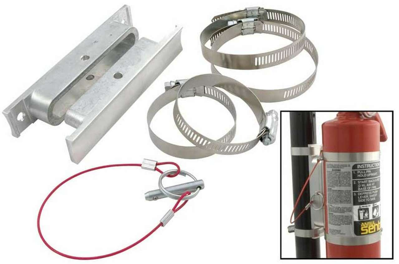ALL10510 by ALLSTAR PERFORMANCE Fire Extinguisher Mount, Clamp-On, Tube Mount, Quick Release, Aluminum / Steel, Natural, 2-1/2 lb Fire Extinguishers, Kit