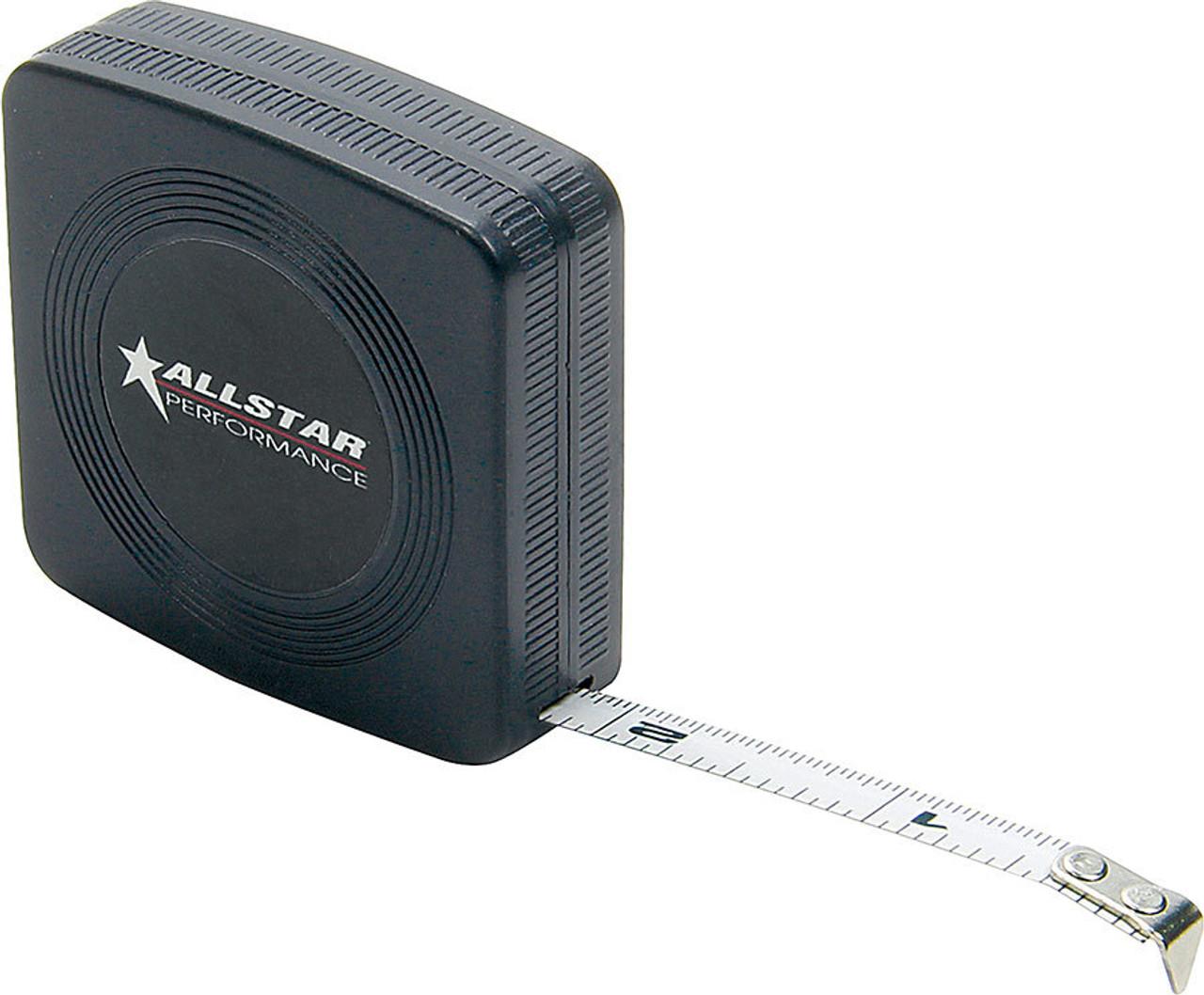 ALLSTAR PERFORMANCE 10112 Tape Measure, Deluxe, 10 ft Length, 1/4 in Width, Inch, Plastic, Black