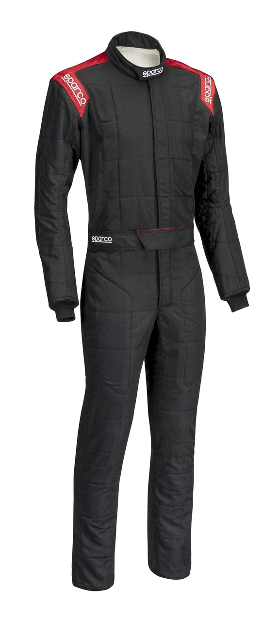 SPARCO Suit, Conquest, Driving, 1 Piece, SFI 3.2A/5, FIA Approved, Dual Layer, Fire Retardant Cotton, Boot Cut, Black / Red
