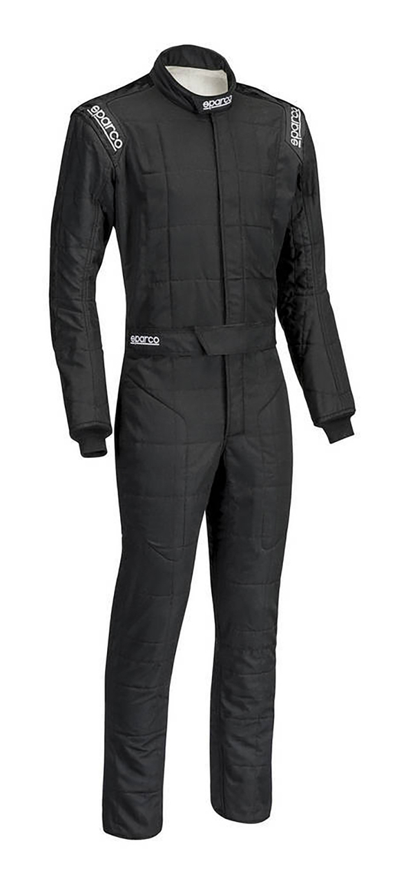 SPARCO Suit, Conquest, Driving, 1 Piece, SFI 3.2A/5, FIA Approved, Dual Layer, Fire Retardant Cotton, Boot Cut, Black /White