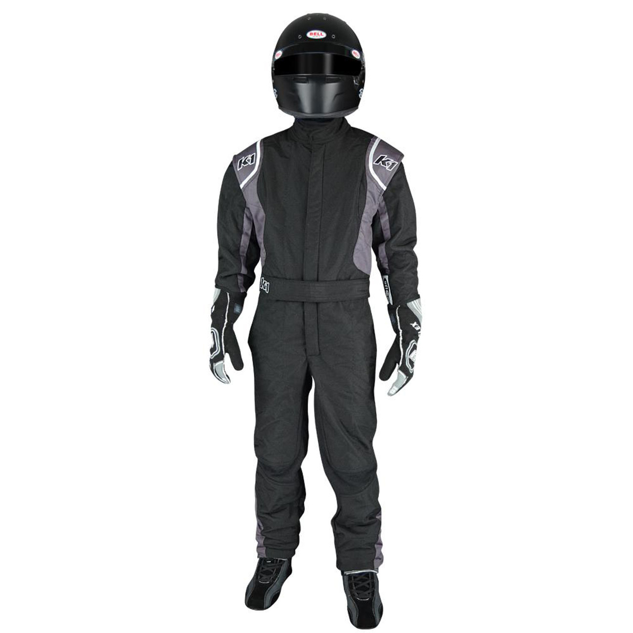 K1 Racegear Suit, Precision II, Driving, 1 Piece, SFI 3.2A/5, Double Layer, Nomex, Black / Gray, Youth