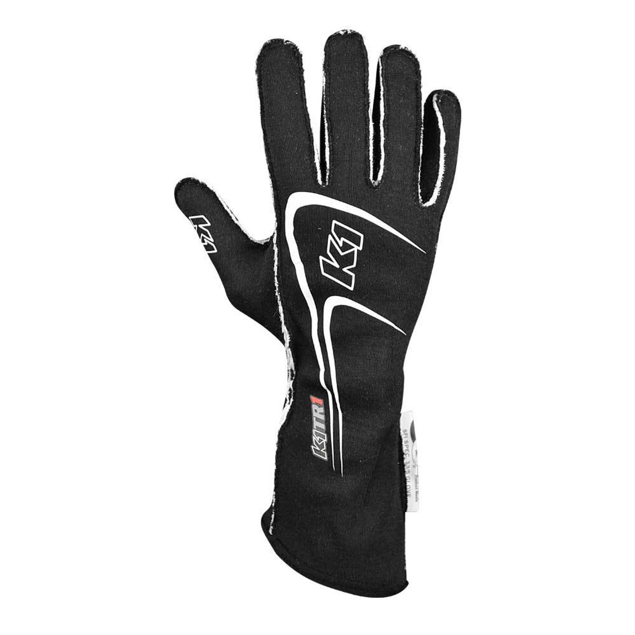 K1 RACEGEAR Gloves, Track 1, Driving, SFI 3.3/5, Double Layer, Nomex, Silicone Palm, Black / White, Youth