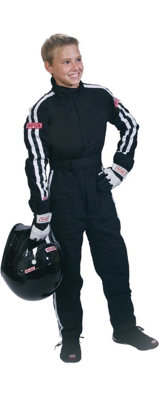 SIMPSON SAFETY Suit, Junior, Driving, 1 Piece, SFI 3.2A/5, Double Layer, Nomex, Black / White Stripes, Youth