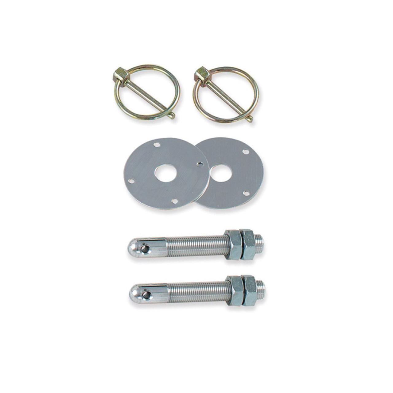 "Longacre 52-23600 Steel Hood Pin Kit - 3/8""-24 Set of 2"