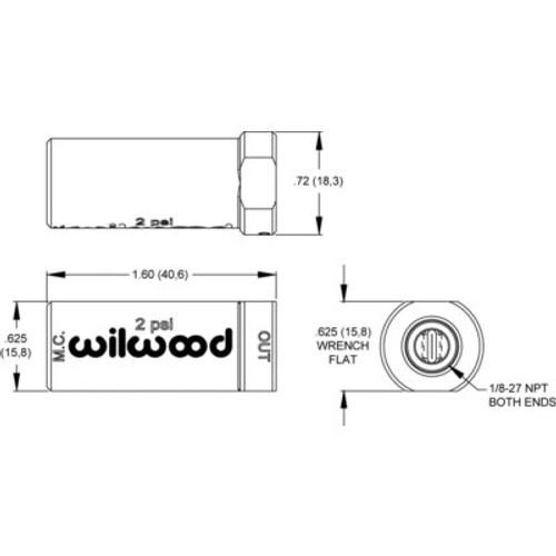 WILWOOD 260-13706 Residual Pressure Valve, Compact, 2 lb, 1/8 in NPT