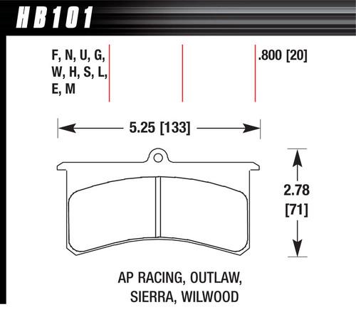 Hawk HB101U800 SUPERLITE/XL DTC-70 Brake Pads (SUPERCEDES HT14)