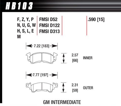 Hawk Full Size GM Black Brake Pads HAWHB103M590