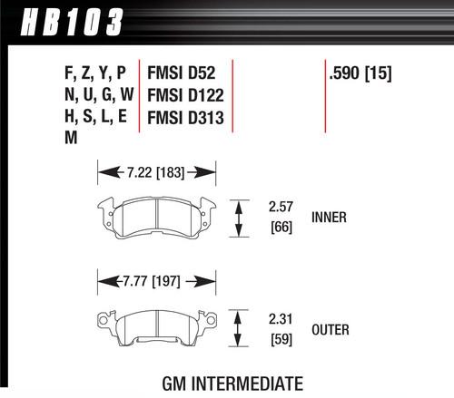 Hawk Full Size GM Black Brake Pads HAWHB103M590