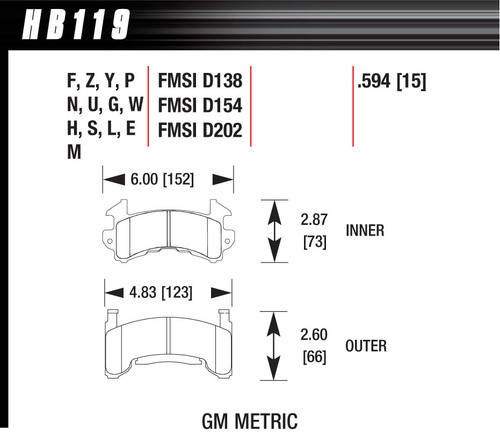 Hawk Metric GM Blue Brake Pads HAWHB119E594
