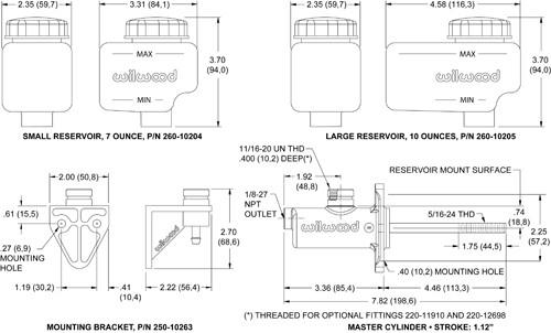 Wilwood Master Cylinder Kits - Short