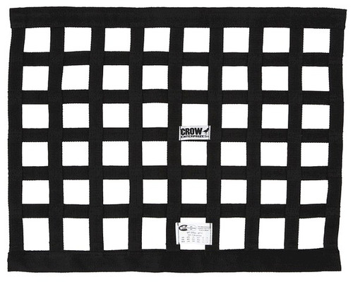 Crow Black Solid Mount Window Net 18X24, SFI 27.1 Approved, Nylon Webbing