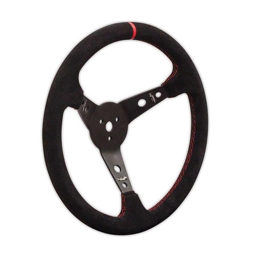 "Longacre 52-56797 Suede Dished Steering Wheel - 15"" Black"