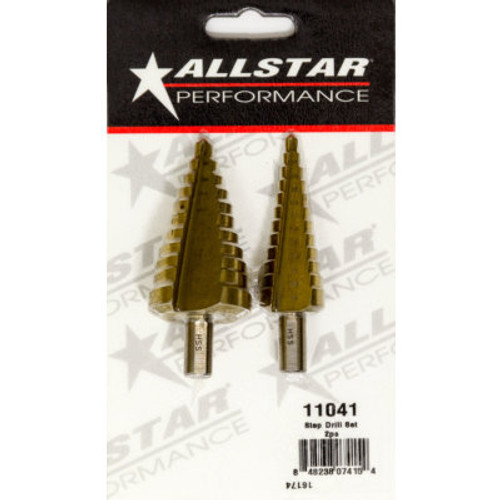 ALLSTAR PERFORMANCE Drill Bit, Step, 3/16 to 7/8 in, 1/4 to 1-3/8, 1/4 in Hex Shank, Steel, Titanium Coated, Kit ALL11041