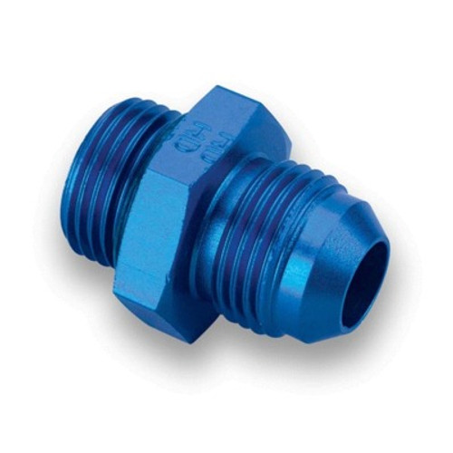 Earl's EAR985008ERL Fitting, Adapter, Straight, 8 AN Male to 8 AN Male O-Ring, Aluminum, Blue Anodize, Each