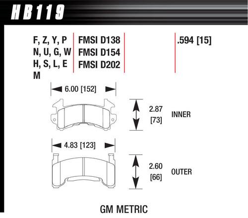 HAWK BRAKE HB119U594 Brake Pads, DTC-70 Compound, High Torque, High Temperature, GM Metric Caliper, Set of 4