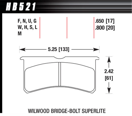 Hawk HB521M800 Brake Pads, Black Compound, Low Intermediate Torque, Low Temperature, Superlite Bridge bolt Style Caliper, Set of 4