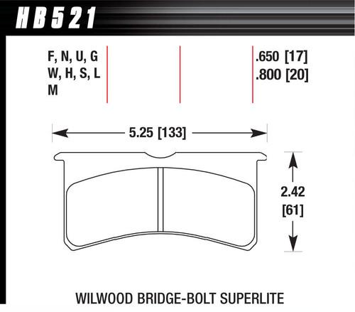 Hawk HB521M800 Brake Pads, Black Compound, Low Intermediate Torque, Low Temperature, Superlite Bridge bolt Style Caliper, Set of 4
