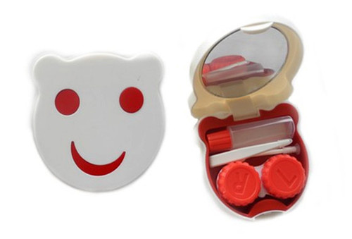 Contact lens storage kit smiley red