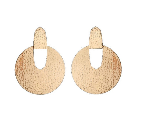 Fashion Earrings-Gold Hammered Post Earrings