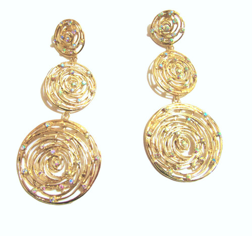 Long Earrings- Gold 3 Layered Circle Long Post Earrings with Rhinestones
