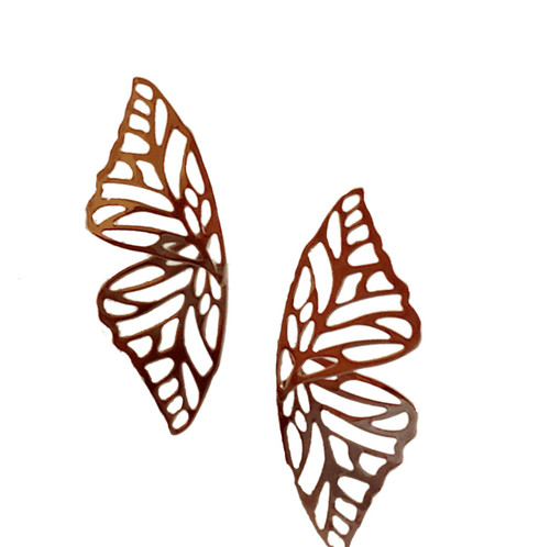 Silver Butterfly Wing Earrings-22069
