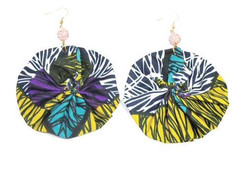 African Print Round Earrings Yellow/Purple