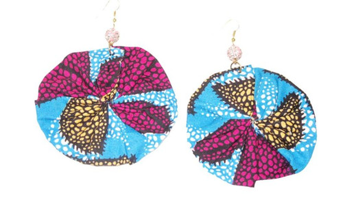 African Print Round Earrings Pink/Blue