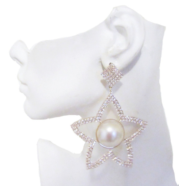 Gold Star Shaped Rhinestone Post Earrings, 4""