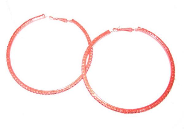Rhinestone Hoop Earrings-21054