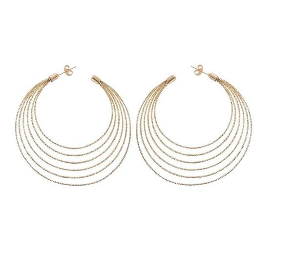 Hoop Earrings-Gold Toned Brass Multi Layer Hoop Earrings