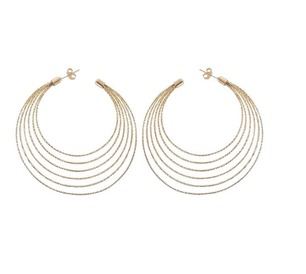Hoop Earrings-Gold Toned Brass Multi Layer Hoop Earrings