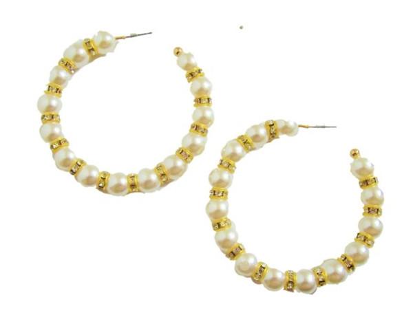 Rhinestone Hoop Earrings-21066