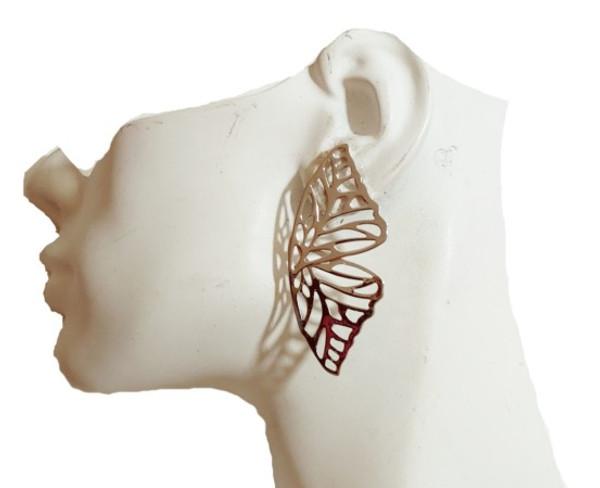 Silver Butterfly Wing Earrings-22069