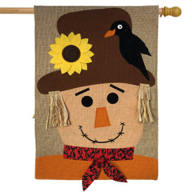 Autumn Scarecrow Burlap House Flag