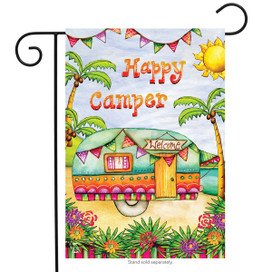 Tropical Camper Summer Garden Flag