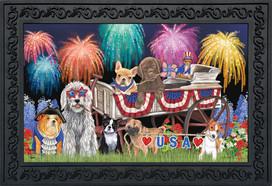 Patriotic Pups Fourth of July Doormat