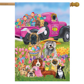 Easter Dogs Holiday House Flag