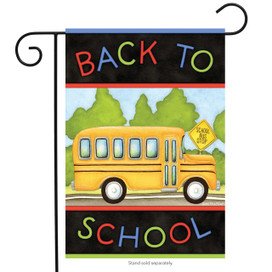 Back to School Bus Autumn Garden Flag