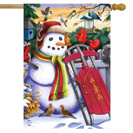 Snowman and Sled Winter House Flag