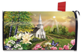 Spring Church Religious Mailbox Cover