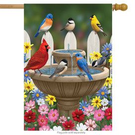 Birdbath Gathering Seasonal House Flag
