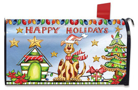 Happy Holidays Dog Magnetic Mailbox Cover