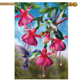 Flight Of The Hummingbirds Spring House Flag