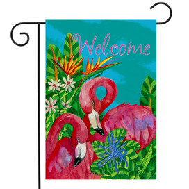 Tropical Flamingos Summer Garden Flag