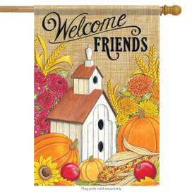 Welcome Friends Birdhouse Fall House Flag