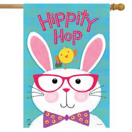 Hippity Hop Bunny Easter House Flag