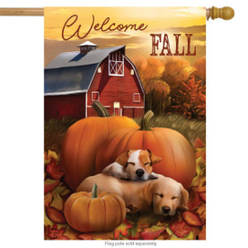Welcome Fall Puppies House Flag