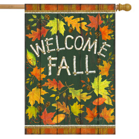 Welcome Fall Leaves House Flag