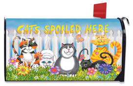 Cats Spoiled Here Floral Mailbox Cover