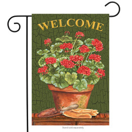 Potted Geraniums Summer Garden Flag